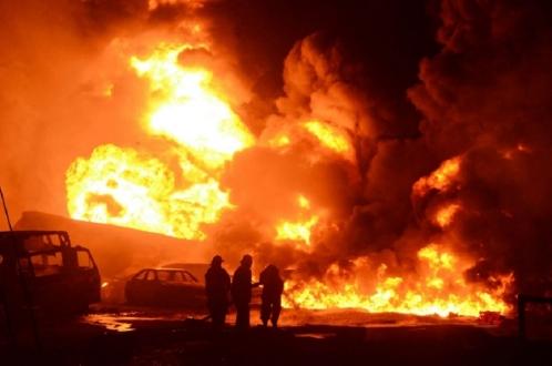 Пожар на трубопроводе в Египте
