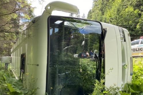 Перевернулся автобус с детьми