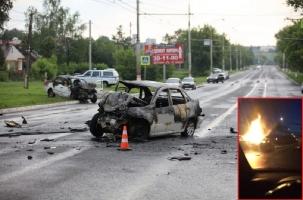 Лобовое столкновение и пожар. Саранск