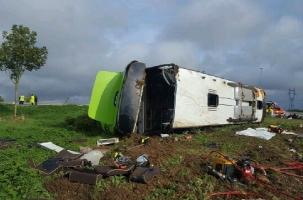 Россияне оказались в опрокинувшемся автобусе во Франции
